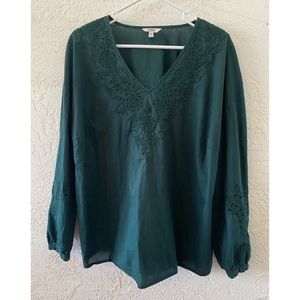 Sonoma Embroidered Eyelet Blouse (L)